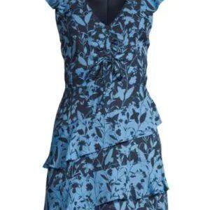 Parker Ruffled Floral Mini Dress In Midnight
